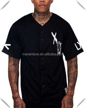 plain design hot sale fashion design Black camo unisex baseball jersey custom made in China with best price , camo embroidery