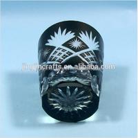 Bohemian Czech Overlay Engraved glass tumblers glass