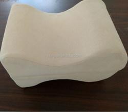 Contour Memory Foam Cream Leg Pillow Massage Pillow Knee Support Pillow with Velour Cover New