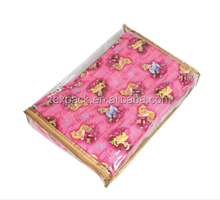 Vinyl bag with gold color binding clear packing for bed sheets