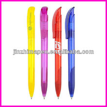 transparent clip ball pen with rubber grip