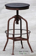 Triumph Wood Round Tuner Stool/ Antique Toledo Bar Stool/Metal Bar Stool