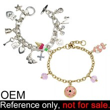 custom enamel metal charms cheap gold plated bracelet fashion jewelry
