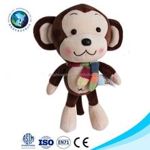 New soft toy plush animal monkey with scarf for valentine's day gift popular stuffed monkey plush animal