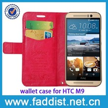 china supplier wallet design PU leather mobile phone case for HTC ONE M9 cell phone case