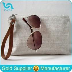 Fashion Natural Linen Clutch Simple Clutch Purse Plain Wristlet Clutch