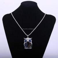 N1296 Free shipping sweater chain jewelry Cute owl necklace for girl Big owl shape pendant gifts Blue Glass animal necklace 2015