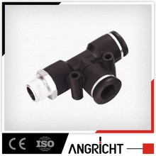 A140 High quality swivel branch male run tee plastic air high pressure flexible angle hose connector