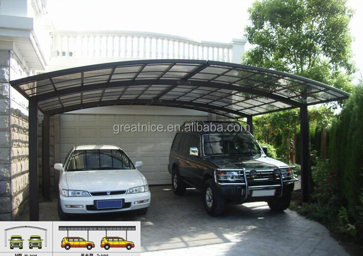 Aluminum Double Carport With Polycarbonate Roof For Two