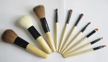 Natural Bamboo Make up Brush Set 10pcs Brush Set With Bag