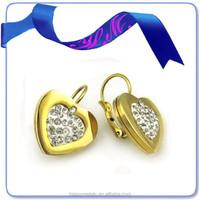 2014 fashion jewelry 24k gold heart shape pave diamond stud earrings