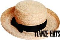 Straw hat Raffia Straw braid hat with black groisgrain band