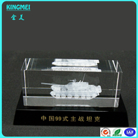 High Quality Luxury K9 Glass 3D Crystal Clear Block With Tank Laser Engraved