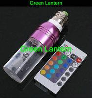 E27 3W AC 85-265V RGB 16 Colors Remote Control Crystal LED Light Bulb Purple