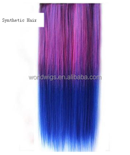 Ombre two tone color 5 clips sinlge piece kanekalon synthetic curly clip hair extension