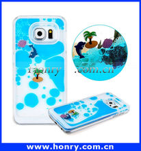 New Coming Liquid Glitter Coconut Tree Dolphin Sea World Mobile Phone Case for Samsung Galaxy S6