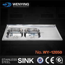 WY-12050 counter tops installation type double bowl sink with drainboard for resturant equipment