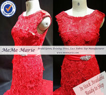 Size 10 In Stock Water Soluble Rhinestones Red Wedding Dresses