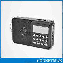 Portable Pocket Mini Radio, strong flashlight fm antenna radio with loudspeaker tf card slot audio line in for headset