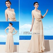 Coniefox New Style One-Shoulder Elegant Ruched High Quality Career Dresses 56951