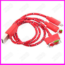 Cheap braided 3 in 1 USB Cable Portable multi USB Cable for android and iphone