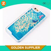 High quality custom fish duck liquid quicksand dolphins plastic cellphone case for iphone 6 plus