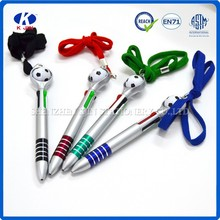 2014 Hot sale mini four color plastic ball pen with football hanging/promotional ball pen for kids