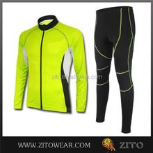 Quick dry cheap custom cycling long sleeve sets/winter cycling wear sets/long bike pants