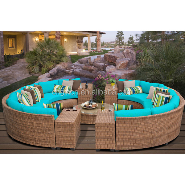 14 seaters circular full round patio furniture with drink