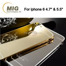 Mirror surface metal bumper mobile phone case/ back cover for iphone 6/ 6s/ samsung, waterproof shockproof aluminum case hot !!!