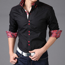 Square buttons Mens wear floral contrast Mens casual dress shirts
