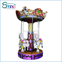 Hot sale amusement park Pony Pony fairground whirligig merry go round good used small 3 seats mini carousel for sale
