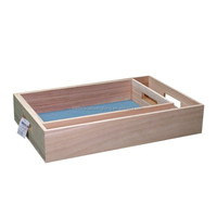 2 piece set paulownia wooden serving trays with handle holes