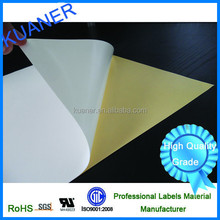 Solvent based glue PET self adhesive stickers with yellow liner