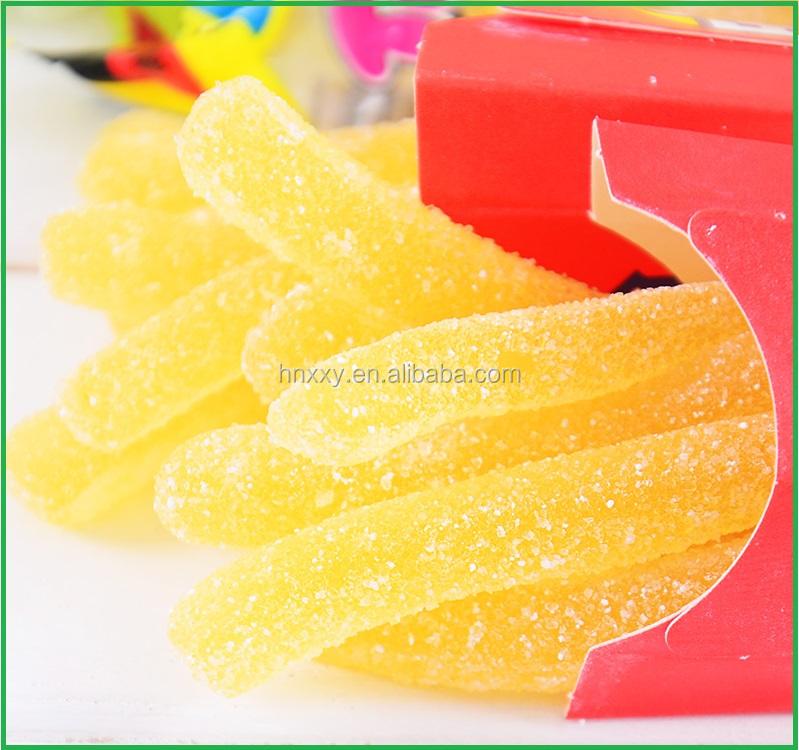 Chips de comida rápida en forma de goma caramelo personalizado serie de comida rápida gomoso fritas jalea caramelo