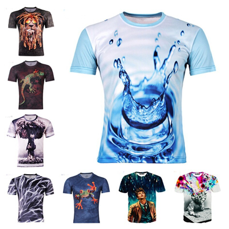Wholesale 2015 hot water droplets move printed 3d t shirts for Printable t shirts wholesale
