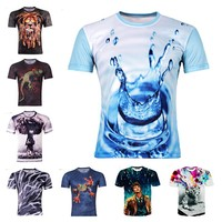 2015 Hot Water Droplets Move Printed 3D T-shirts, Punk 3D Short Sleeve T- Shirt 8 style cycling Men 's T- Shirts