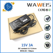 2015 hot sale plug power adapter 15v 3a input 100 240v ac 50/60hz