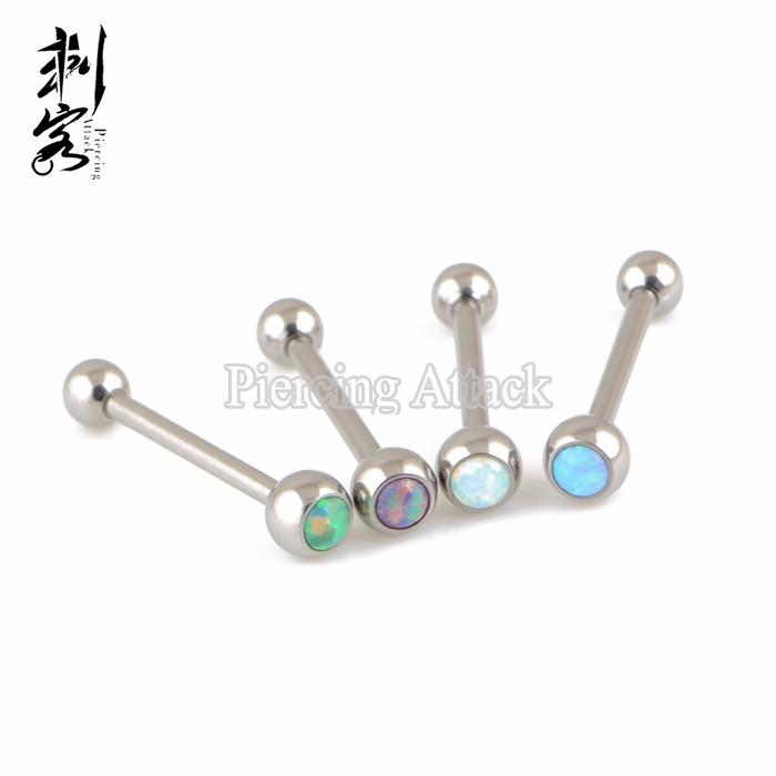 Astm F136 Titanium Body Jewelry Internally Threaded Opal Tongue