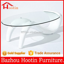 2015 new design fiberglass base and glass top coffee table for living room furniture