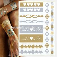 Hot Sale Metallic Foil Body Design Fashion Temporary Tattoo Stickers Metallic Jewelry Tattoo Temporary Mask Tattoo Sticker