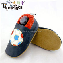 2015 OEM / Custom handmade football design with crochet leather Baby Summer Shoe From Factory