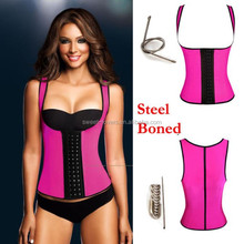 Rose Color Latex Rubber Waist Cincher Sports Vest Shapewear Strap