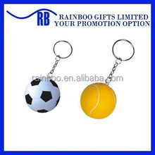 Hot selling Eco-friendly logo printed cheap pu foam soccer ball keychain for promotion