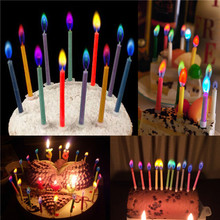 6pcs Birthday Cake Candles Assorted Colored Flames Safe Taper Chime Party Decor