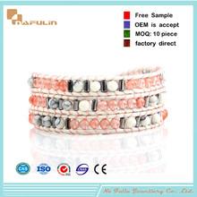 [Nafulin]Friendship aventurine round beads wrap bracelets, beaded leather wrap bracelet
