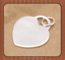 Wholesale blank 925 Sterling Silver Jewelry Heart Pendant 925 Sterling Silver pendant Charms