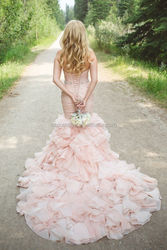 Oumeiya OW317 Long Tail Sexy Mermaid Ruffled Organza Pink Wedding Dresses 2015