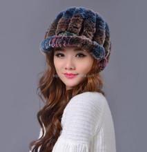 winter fashion rabbit fur knit beanie cap/russia style hat with fur/rabbit fur hat child