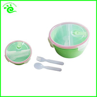 2 Compartments Microwave Plastic Food Storage Container With Divider